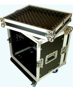 "Speed Case 10RU Spaces 19"" rack mount case with castors"
