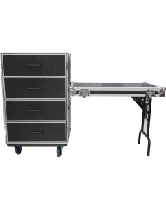CaseToGo 4 draw Utility Road case with a DJ-Utility Table