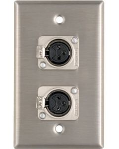 Stainless Steel Wall Plate DUEL XLR sockets Female