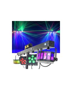 CR 71056 Mix Party GigBar Pro 2 X Derby 2 X LED Par 4 X UV/Strobe and RG Laser with Wireless footswitch Controller Stand and Carry bag