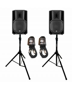 """RCF ART715A 12"""" active speaker package with stands and cables"""