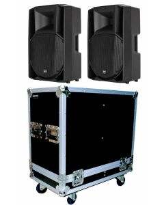 2x RCF ART 735-A MK4 700W RMS ACTIVE SPEAKERS AND DUAL FLIGHT CASE