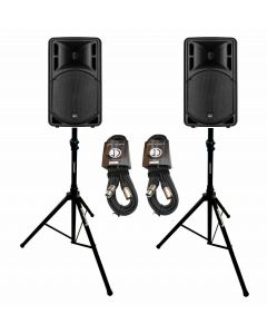 """RCF ART312A MK4 12"""" active speaker package with stands and cable"""