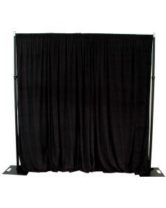 Black 3m drop x 3m width cotton velvet drape - 300gsm