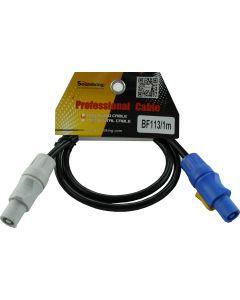 1m PowerCON Neutrik NAC3FCA [blue] to PowerCON  NAC3FCB [grey] Link Cable. 1.5 x 3-core cable