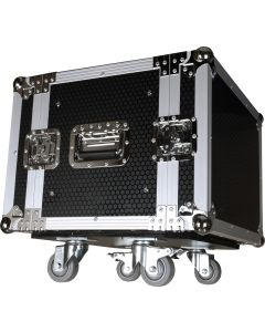 "CaseToGo 8RU effects flight case 19"" with wheels"