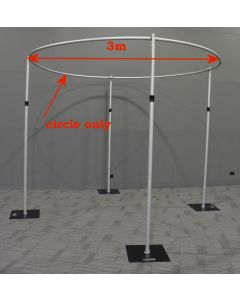 3m in diameter circle for pipe and drape