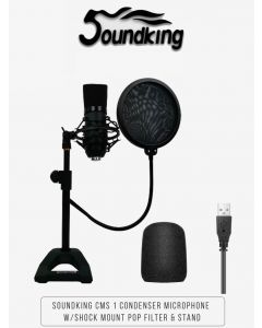 SOUNDKING CMS 1 USB condenser microphone with shock mount pop filter and table top stand