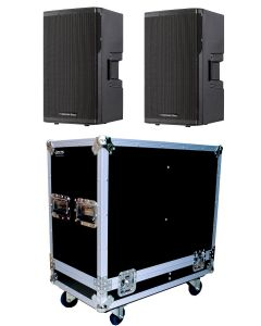 "CVX-15 15"" 1500 WATT POWERED LOUD SPEAKER + DUAL FLIGHT CASE"