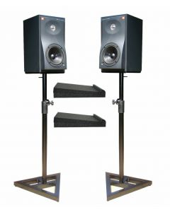 2X SOUNDKING DB039B STEEL STUDIO MONITOR STANDS + ISOLATION PADS