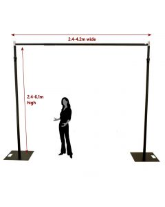 6.1m x 4.2m BLACK Pipe and Drape support system / Wedding Event backdrop - 6.1m max height