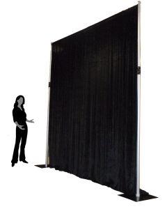 Black 2.4m drop x 4m width velveteen drape - 200gsm
