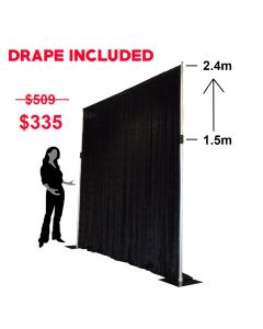 2.4m x 2.4m Backdrop Frame Including Drape - SPECIAL PACKAGE