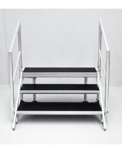 3-STEP ADJUSTABLE, FOLDING STAIRS FOR STAGE 600-800MM HIGH WITH HANDRAILS