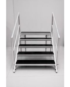 5-step stairs for stage 800-1200mm high x1220mm wide with handrails