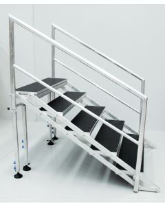 4-step free standing stairs for stage 600-1000mm high with handrails