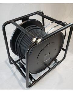 DUAL Tour-Grade Ruggedised Cat6 SF/UTP Network Cable 50m roll RJ45 Neutrik on steel reel on castors