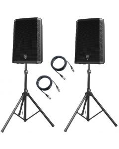 2x EV ZLX15BT 15-inch Two-Way Powered Loudspeakers with stands and cables