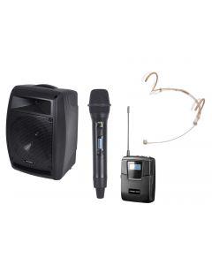 PR Helix HX-208 200W battery portable PA dual wireless mics + Bluetooth module
