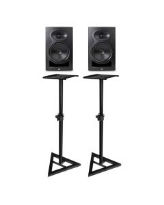 "KALI AUDIO LP-8 8"" 2-WAY ACTIVE STUDIO MONITOR PAIR BLACK PLUS BONUS STANDS"