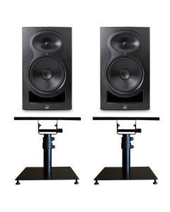 "KALI AUDIO LP-8 8"" 2-WAY ACTIVE STUDIO MONITOR PAIR BLACK + BONUS STANDS"