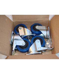 Swivel caster with blue wheel - set of 4