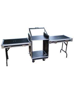 "Mixer / amp case - 19"" rack equipment case workstation- 10RU mixer 16RU amplifier"