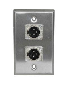 Stainless Steel Wall Plate DUEL XLR sockets MALE