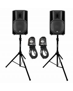 """RCF ART712A 12"""" active speaker package with stands and cable - MADE IN ITALY"""