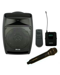 CHIAYO STAGEMAN 150W PORTABLE PA WITH 2X WIRELESS MICROPHONE, CD PLAYER /USB
