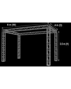Truss stand - 3.5m high x 7m wide x4m deep four way 290mm box truss