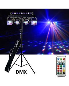 5 in 1 Party Set Light LED Parcan, Derby Light UV Bar + Stand & Remote