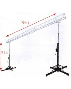 Truss stand -  5m high x 9m wide Heavy duty winch up lighting box truss
