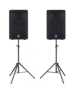 "Pair of Yamaha DBR12 12"" 2-way Powered Loudspeakers With bonus speaker stands"