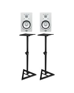 "YAMAHA HS8W 8"" ACTIVE STUDIO MONITORS WHITE (PAIR) With MONITOR STANDS"