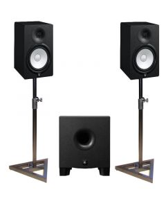 "YAMAHA HS7 6.5"" ACTIVE STUDIO MONITORS WITH HS8S SUBWOOFER - FREE MONITOR STANDS"